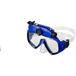NinJaSun Caméra de Sport + Lunettes de Protection, Champ de Vision de 30 degrés, Lunettes de plongée étanches et Profondes, Masque l'appareil Photo numérique avec écran LCD HD720P,Blue