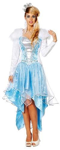 narrenkiste W4402-38 blau-weiß Damen Rokoko Kostüm Schneekönigin Eisprinzessin Gr.38 (Schneekönigin Kostüm)