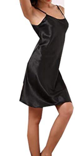 Diemme intimo abito sottoveste donna camicia da notte sexy ed elegante con spalline sottili regolabili (s/m, nero)
