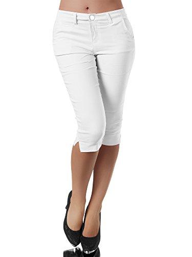 Diva-Jeans N956 Damen Caprihose Treggings Leggings Stoffhose Sommerhose Knielang 3/4 Capri, Farben:Weiß, Größen:M