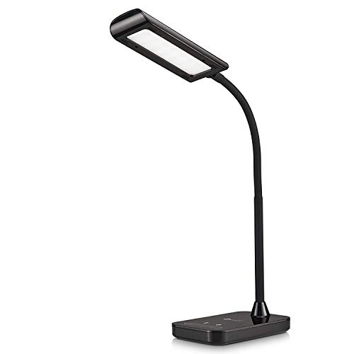 Desk Lamp, TaoTronics Flexible Gooseneck LED Table Lamp, 5 Color Temperatures with 7 Brightness Levels, Bedside Light with Touch Control, Memory Function, 7W, LED Desk Lamps for Study, Reading, Office and Bedroom, Black