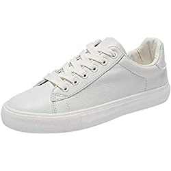 Cebbay Femmes Baskets Chaussures vulcanisées Respirant Cuir Lace Up Student Casual Sneakers 35-40