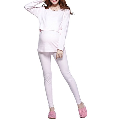 Laixing Maternity Pajamas Suit Maternity Nursing Clothes Women Sleepwear QYT011 Pink