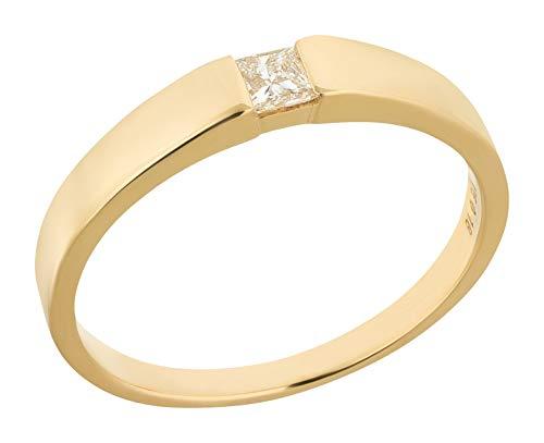 Ardeo Aurum Damenring aus 375 Gold Gelbgold mit 0,18 ct Diamant Princess-Schliff Spannfassung Solitär Verlobungsring (Gelber Princess-cut Diamant-ring)