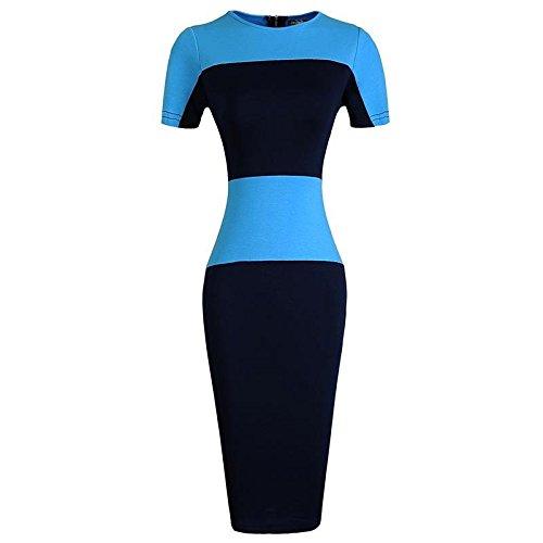 Jeansian Femmes Fashion Slim Robe Retro Stripe Manches Courtes Slim Sexy Dress WKD273 Skyblue
