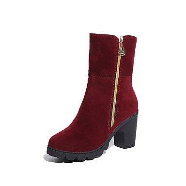 Rtry Mujer Zapatos Cachemira Caída En La Moda Botas Botas Chunky Talón Punta Redonda Botas De Media Pierna Cremallera Cremallera Para Casual Negro Borgoña Us8 / Eu39 / Uk6 / Cn39