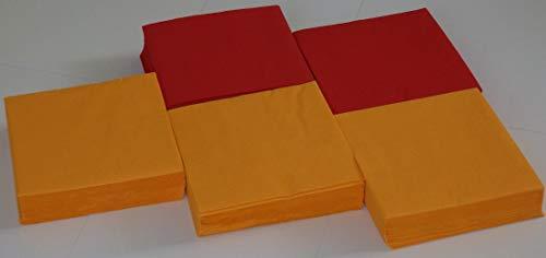 150 Stück angenehm weiche Servietten = 90 x leuchtend orange + 60 x leuchtend tief rot Zelltuch-Servietten - 33x33 cm 13x13 inch, 3-lagig, 1/4 Falz -