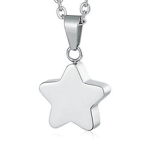 Daesar Grabado Collar Estrella Collar Cenizas Plata Colgante Collar de Mujer Hombre Collar Acero Inoxidable Plata