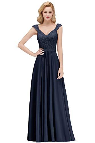Damen A-Linie Ärmellos Chiffonkleid Festlich Prom Kleid Ballkleid mit Stickerei lang Navy Blau 46
