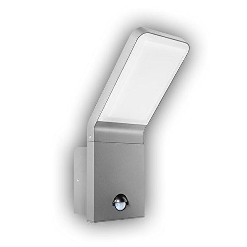 GEV Außenleuchte LED-Außenwandlampe mit Bewegungsmelder, Leuchte Nina, 90 Grad, Dämmerungsschalter, Wandlampe, Aluminium, 9,5 W, Silbergrau, Haustürbeleuchtung 9.5, 16,5 x 10 x 25,6 cm