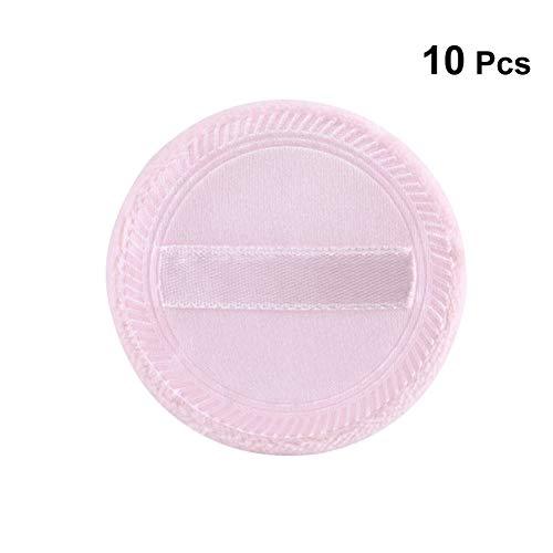 Frcolor 10 stücke Puderquaste Reine Baumwolle Runde Makeup Puff mit Gurt für Powder Foundation Lose Mineral Powder Körper Pulver (5,5x7mm Rosa) -