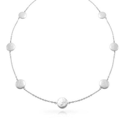 Einfache Weiße Tin Cup Station Süßwasser Biwa Münze Zuchtperle Halskette Für Damen Für Braut Maid 925 Sterling Silber - Cup-halskette Tin