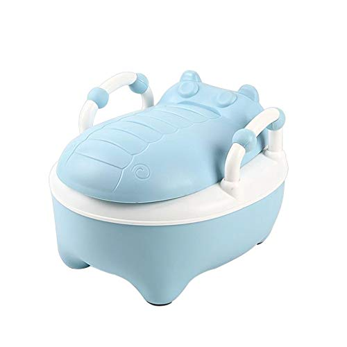 RJJX Home WC Start beweglicher Baby-Toilette Cartoon Hippo Abnehmbare Kind Potty Trainer, Geeignet for Jungen und Mädchen Baby 3 Farbe Optional (Color : Blue)