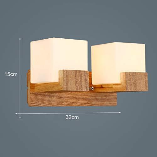 Glas Holz Leuchte Lampen Wandleuchte für Schlafzimmer Nachttisch Veranda Bad Eitelkeit Korridor Nachttischlampe (Nicht Enthalten E27 Lichtquelle) -