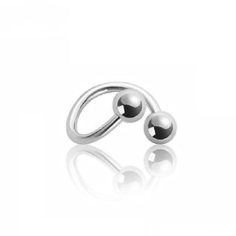 eeddoo® 1,2 mm - 8 mm - 4 mm - Titan - Spirale (Piercing Schmuck Nasen Ohr Lippen Stecker silber)