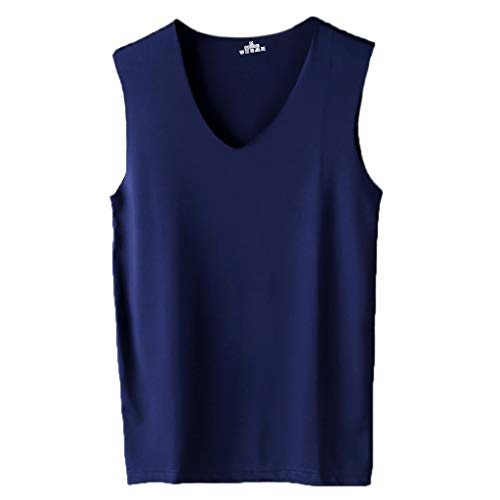 Preisvergleich Produktbild Lamdoo Men Seamless Bouncy Tank Top Sexy Bequeme Weste Unterhemd ärmellose Weste Navy 3XL