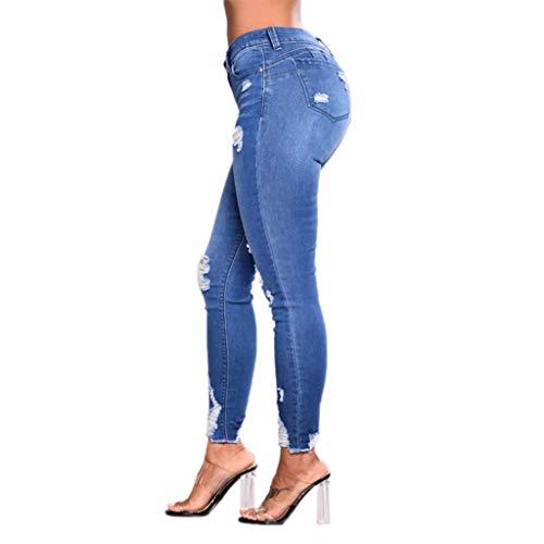 Ansenesna Zerissene Damen Jeans High Waist Stretch Skinny Elegant Röhrenjeans Frauen Denim Hose Mit Löchern