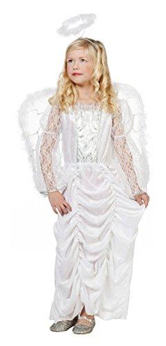 Karneval-Klamotten Engel Kostüm Kinder Engelskleid lang Weihnachten Mädchen-Kosüm Weihnachtsengel Luxus Größe 152