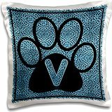 Doreen Erhardt Monogrammed Collection - Letter V Blue Cheetah Print Cat Paw - 16x16 inch Pillow Case