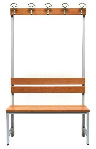 Master of Boards Garderobenbank Sitzbank aus Buchenholz   Umkleidebank einseitig mit Rückwand und Hakenleiste   für Schule, Sport-Verein, Fitnessstudio   Verschiedene Größen (150 cm Breite)