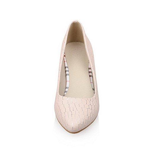 VogueZone009 Femme Tire Pu Cuir Pointu à Talon Correct Texturé Chaussures Légeres Rose