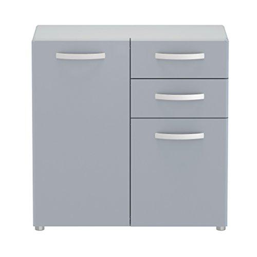 2 Tür, 2 Schublade Sideboard (Loft24 CORA Sideboard Kommode Schrank Büromöbel Ordnerschrank Aktenschrank Aufbewahrung grau (2 Türen & 2 Schubladen))