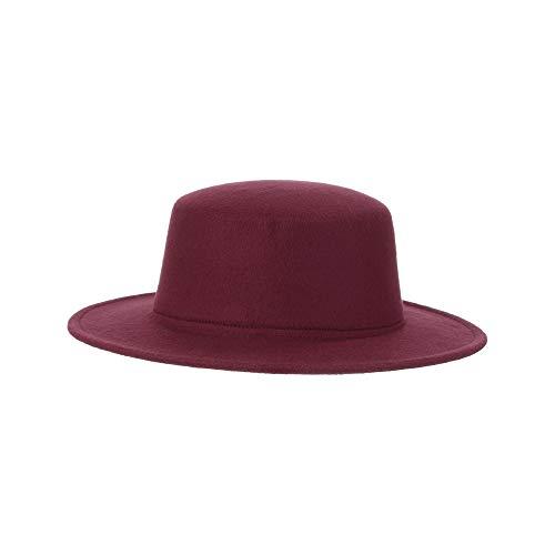 WJMLHLLE Normallack-Filz-Fedoras-Hut Für Mann-Frauen-Mischung Jazz Cap Wide Brim Simple Church Flat Top Hat Brim Fedora-hut