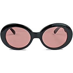 Ovale Retro Sonnenbrille für Damen 60er Jahre Stil KU18 (Schwarz / Rosa)