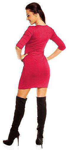 Zeta Ville - Robe poches manches 3/4 décolleté en V Taille 38-48 - Femme - 236z Framboise