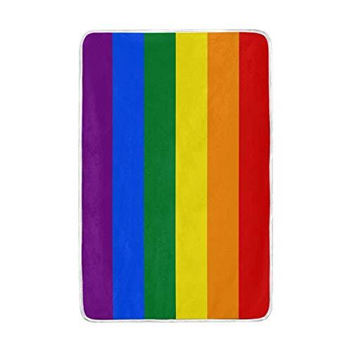 ALAZA Rainbow Flagge Colorful spripe Übergroße Überwurf Decken für Polyester-Couch Sofa-König Queen Size Betten Home Decor Zimmer Betten Steppdecke für Sofa, Polyester, Multi, 60x90