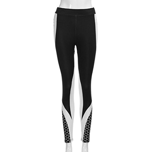 YULAND Damen Hose, Haremshose Pumphose sommerhose freizeithose Hosen - Frauen 3D Drucken Yoga Skinny Workout Gym Leggings Sport Training beschnitten Hosen (S, Schwarz)