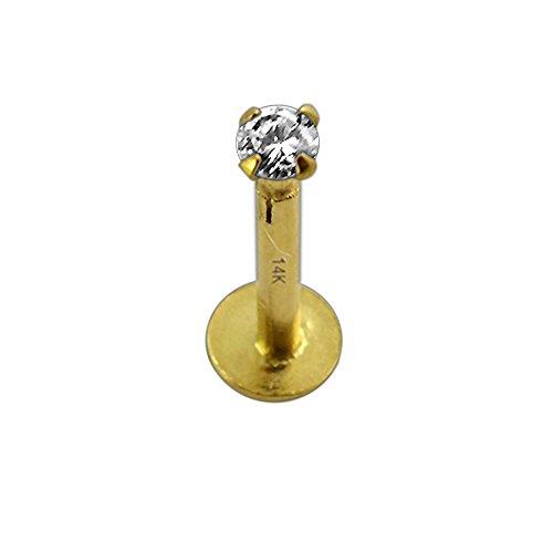 Artiglio di oro giallo massiccio 14k imposta 2 millimetri rotonda pietra CZ superiore filettato interno 16 Gauge Hollow Labbro Labret trago Bar Piercing gioielli