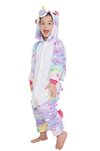 Kinder Einhorn Kostüme Flanell Einhorn Pyjamas Tier Cartoon Cosplay Schlafanzug Kostüme (115: 125-134cm, Star)
