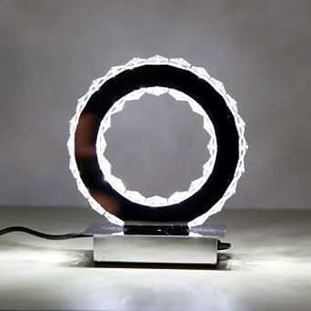 Lampe de table ronde LED bague en cristal de diamant éclairage modernes lampe de bureau