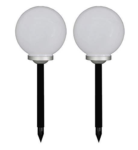 Trango 2er Set 30cm Ø LED Solarkugel inkl. Erdspieß TG-SL30-2 Solarleuchte I Gartenkugel I Solar Gartenleuchte I Solar Gartenlampe
