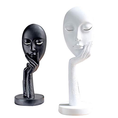 JPVGIA Statue Handwerk Persönlichkeit Home Handwerk Abstraktes Gesicht Einfache Moderne Wohnzimmer Wandschrank TV Kabinett Dekoration Artwork -