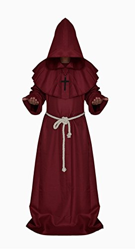 Halloween Umhang Karneval Mönche Kostüm Rock des Geistlichen (XL, (Size Werwolf Plus Kostüme)