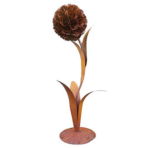 DEWOGA Deko Pusteblume H 130cm auf Platte Edelrost Rost Metall Garten Neu Blume