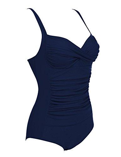 Ekouaer Monokini Badeanzug Damen Einteiler Tankini Schwimmanzug für Damen Figuroptimizer Strand Bademode Marineblau