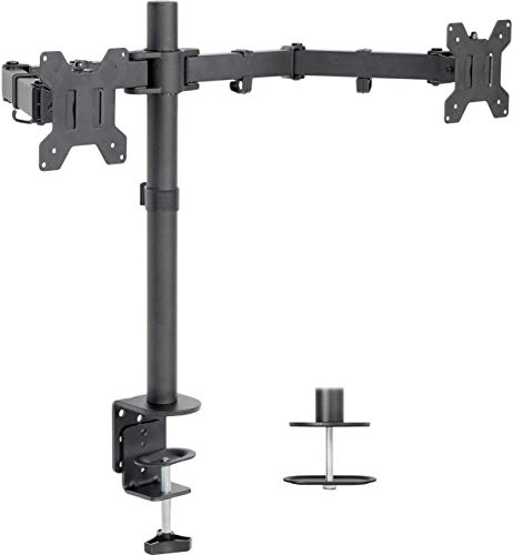 Dual LCD Monitor Desk Mount Stand Heavy Duty Fully Adjustable fits 2 /Two Screens up to 27