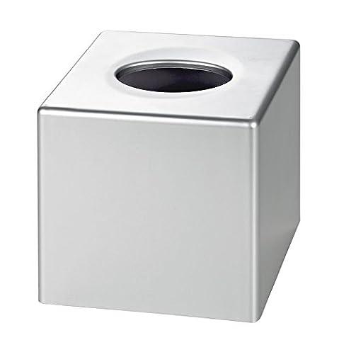 Satin Chrome Cube Tissue Box Cover (Case Qty