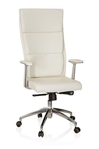hjh OFFICE 600410 Chefsessel MONZA 20 Leder Weiß Bürostuhl Bürosessel gepolstert, hohe Rückenlehne