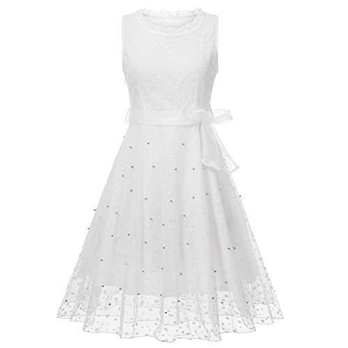 FWJ-clothes Vintage Schnürung White Lace Dress Damen Cocktail Formale Swing Dress Night Date, Hochzeit, Formale Anlässe Ladies Dress,L - Womens Kirche Anzüge