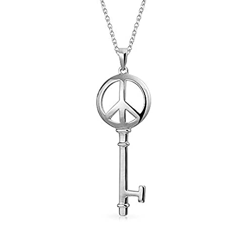 Bling Jewelry Sterling Silver Peace Sign Key Necklace 18in