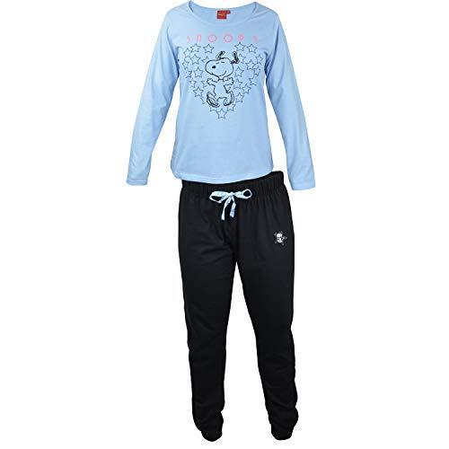 Snoopy - Damen Schlafanzug, lang hellblau-schwarz, Gr. L (Peanut Snoopy Schlafanzug)