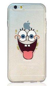 RONNEY'S Cartoon Bob l'éponge Coque souple transparente en TPU pour Apple iPhone avec protection d'écran, plastique, SB1, Apple iPhone 5c