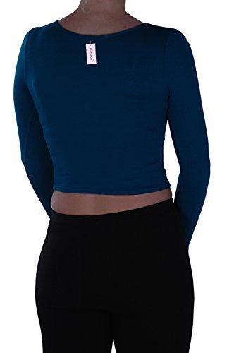 EyeCatch- Dames Désinvolte Court Manche Longue Haut Aux Femmes Mode étendue Col Rond T-Shirt Sarcelle