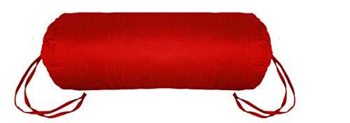 Zugschnur-wein (Saffron Rund-Kissenbezug für Yoga, Massagekissen aus Polyester, Abnehmbarer Bezug, 22,9 cm Durchmesser, Wein, 9x36)