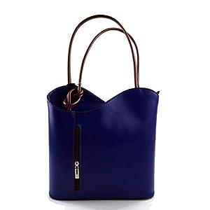 Damen tasche handtasche blau – braun ledertasche damen ledertasche schultertasche leder tasche henkeltasche…