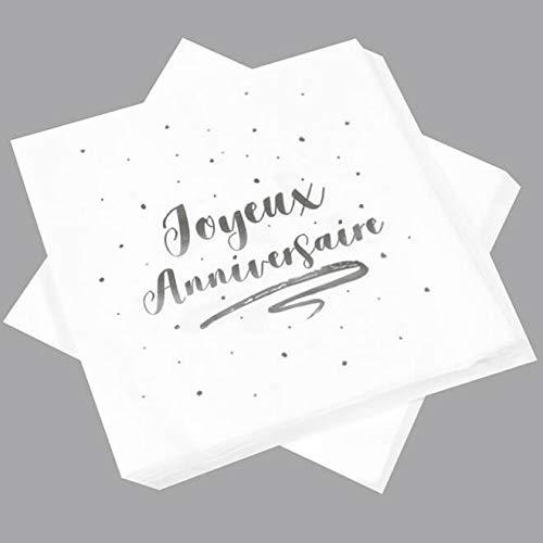 HOBI Serviette de Table Anniversaire Blanche et argentée (x20) REF/JET005